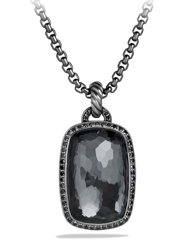 Albion Pendant with Hematine and Black Diamonds