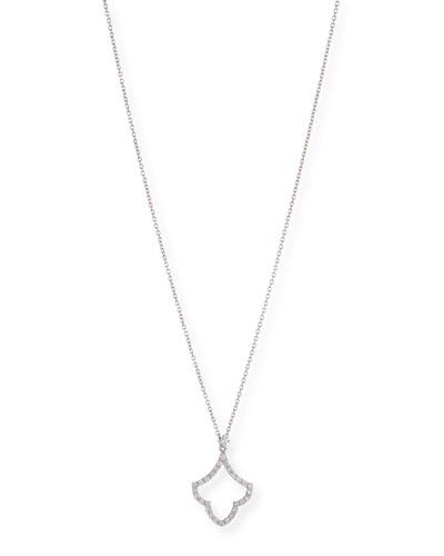 18k White Gold Art Deco Diamond Pendant Necklace