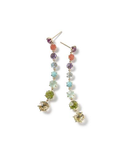 18k Rock Candy 8-Stone Dangle Earrings in Summer Rainbow