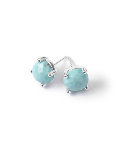 Silver Rock Candy Mini Stud Earrings in Turquoise