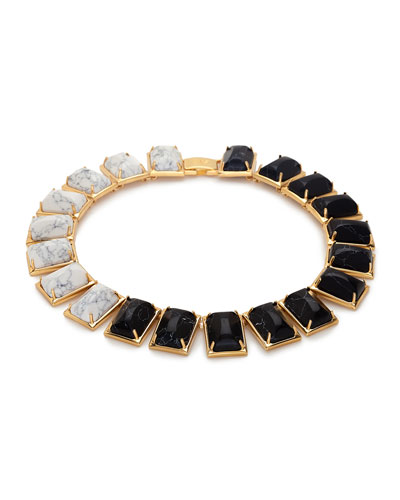Gardenia Two-Tone Link Necklace, Black/White