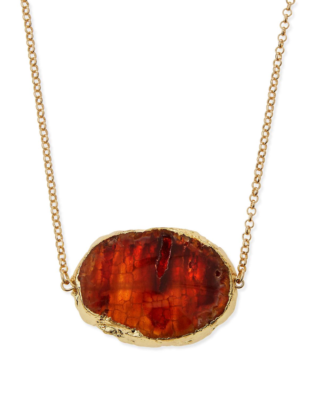 Brown Agate Long Pendant Necklace