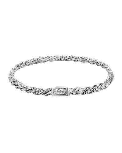 Classic Chain Slim Twisted Diamond Bracelet