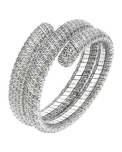 Classic Chain Silver Double Coil Bracelet, Size M