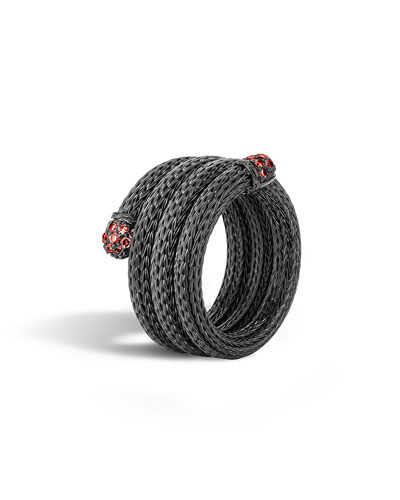 Lava Coil Ring with Red Sapphire, Size 7