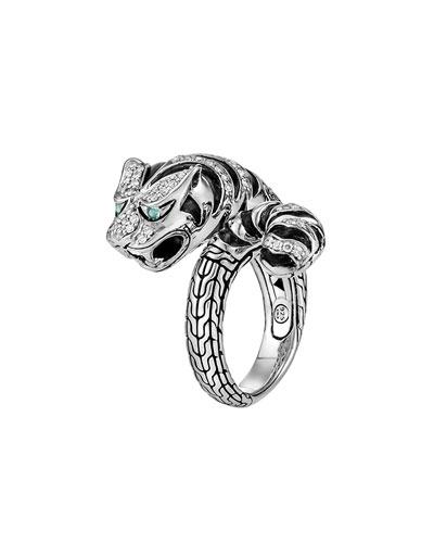Classic Chain Macan Diamond Ring, Size 7
