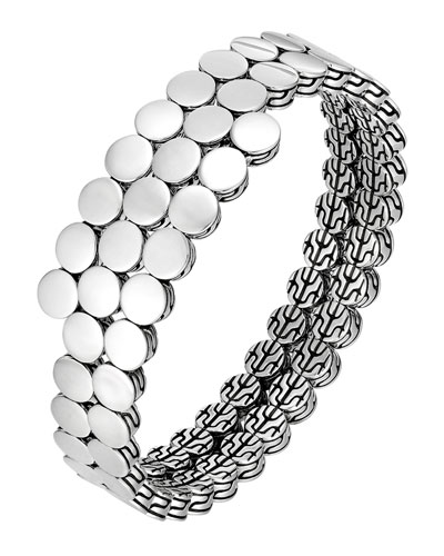 Dot Silver Double Coil Bracelet, Size M