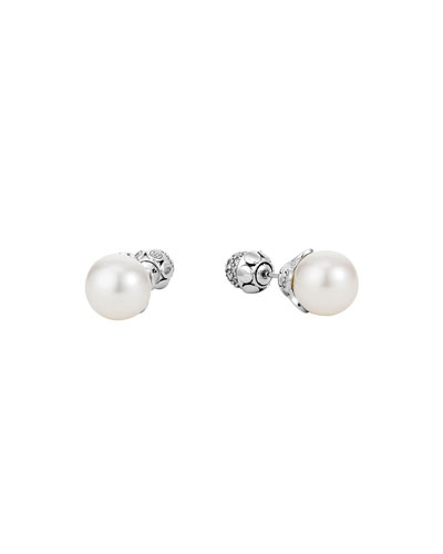 Dot Pearl & Pave Diamond Double-Sided Earrings