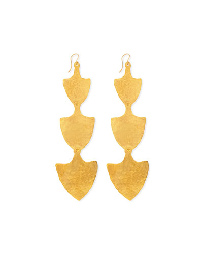 18k Gold Triple-Shield Earrings