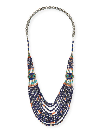 Long Multi-Strand Necklace, Blue, 42