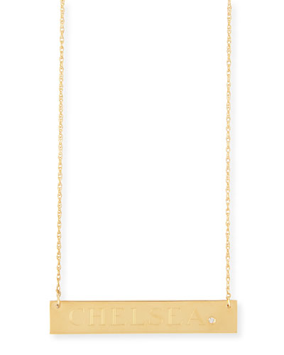 Jennifer Zeuner Harley Personalized Diamond Bar Necklace