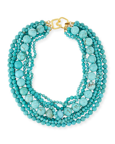 Stabilized-Turquoise Bead Multistrand Necklace, 18