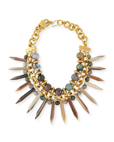 Kali Mixed Horn Beaded Spike Necklace