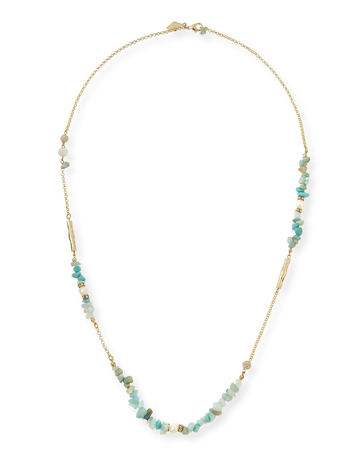 Mint Agate & Pearl Long Necklace