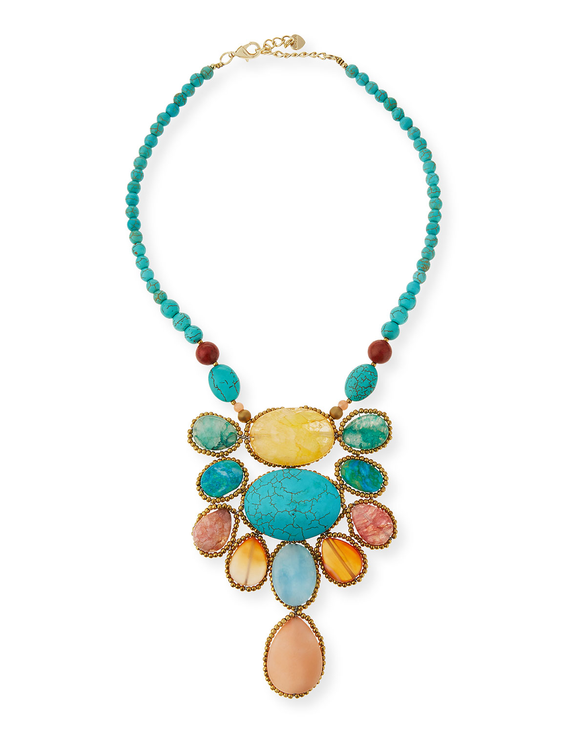Turquoise Magnesite & Agate Statement Necklace