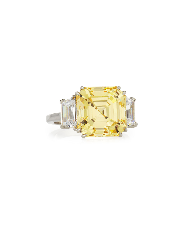 Canary Asscher Cubic Zirconia Ring