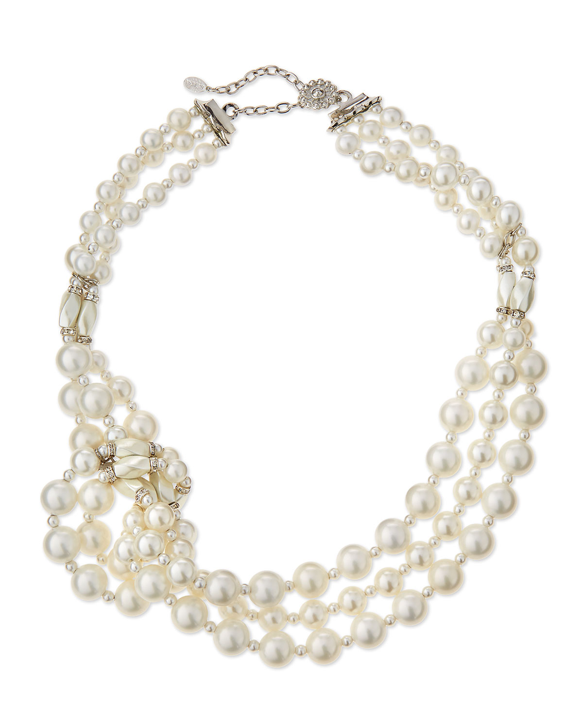 Knotted Three-Strand Simulated Pearl Necklace