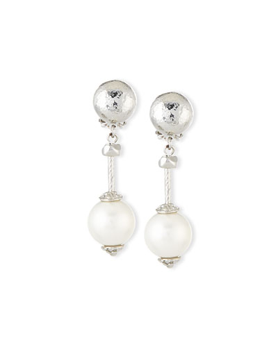Silver-Plate & Pearly Drop Clip Earrings