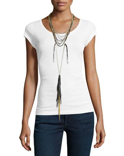 Multi-String Long Tassel Necklace, Black/Golden