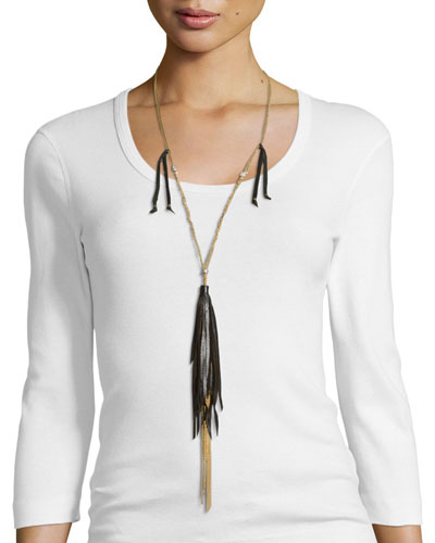 Long Necklace W/ Tassels, Black