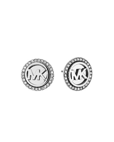 Logo Pave Stud Earrings