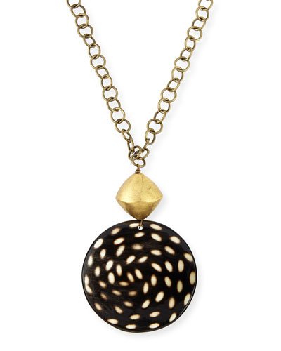 Spotted Horn Disk Pendant Necklace