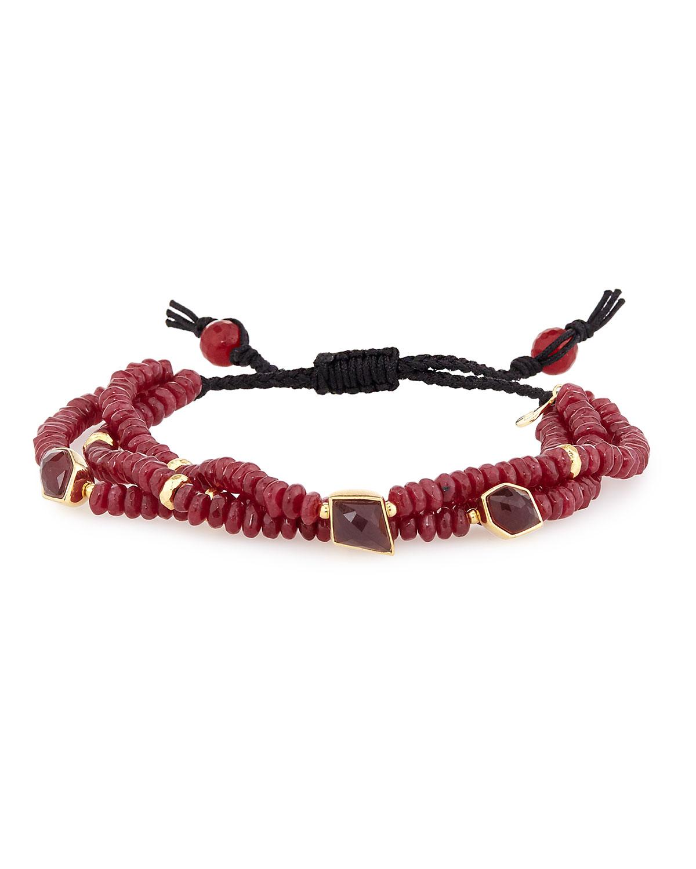 Agate Beaded Slide Bracelet, Red