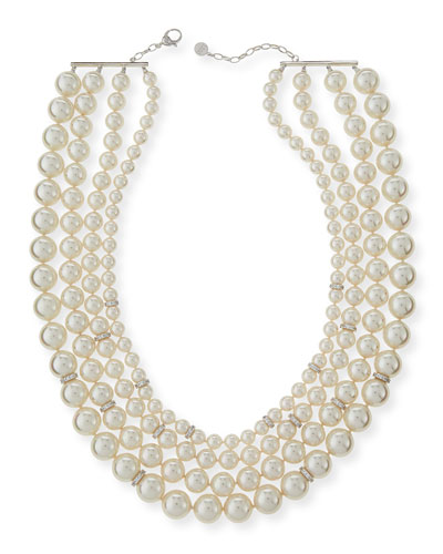Four-Strand Manmade Pearl & Crystal Necklace