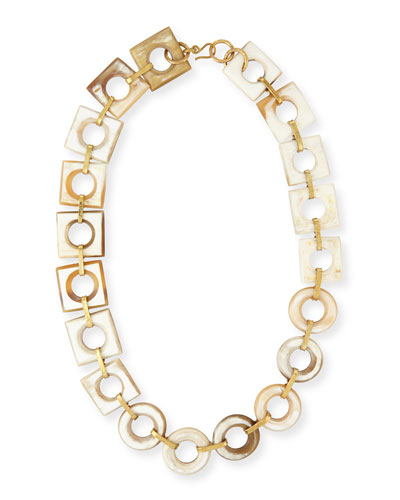 Mbele Light Horn Geometric Necklace, 34