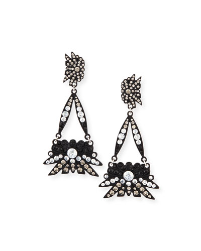 Matte Black Crystal Drop Earrings