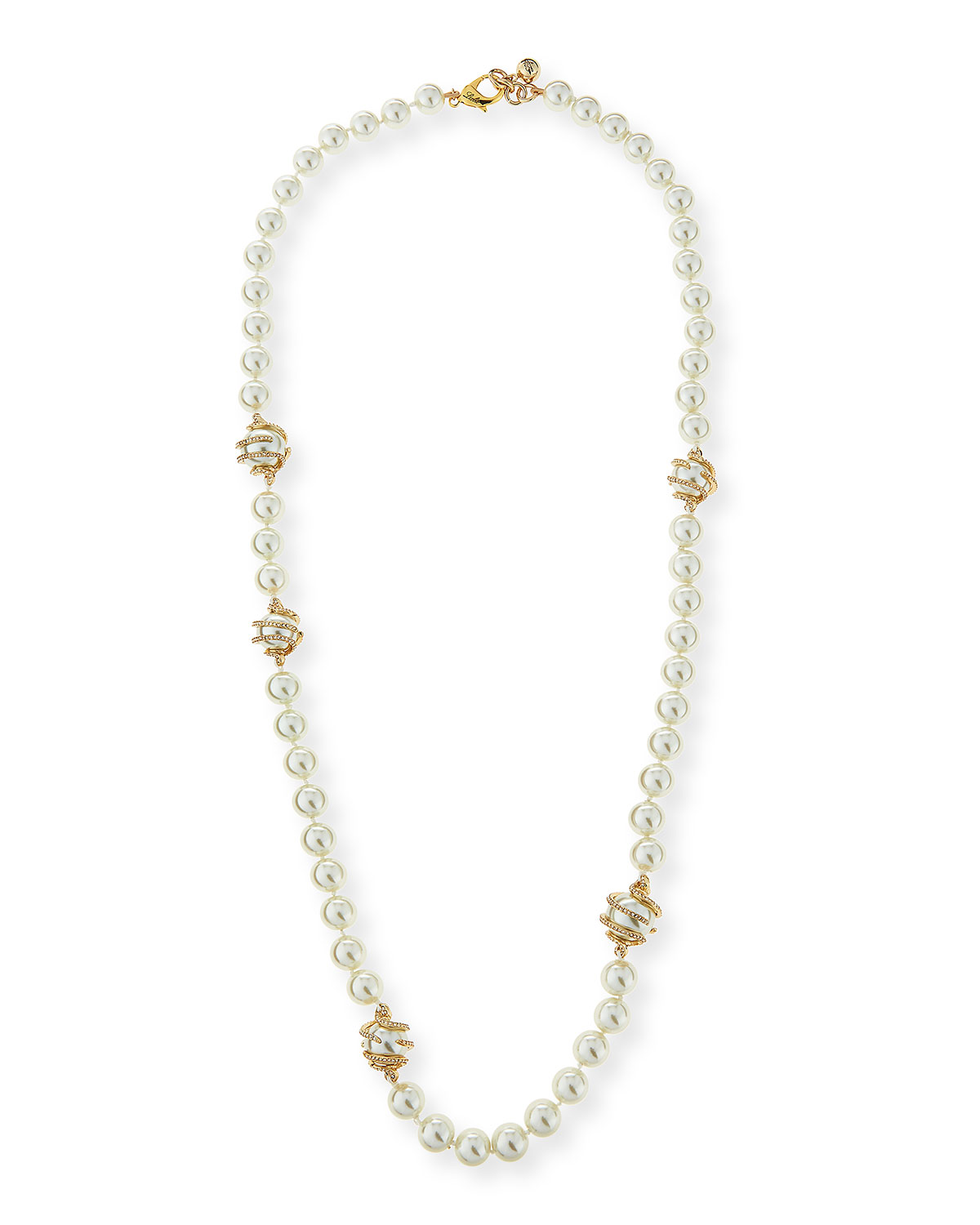 Simulated-Pearl Necklace with Coiled Crystals, 36