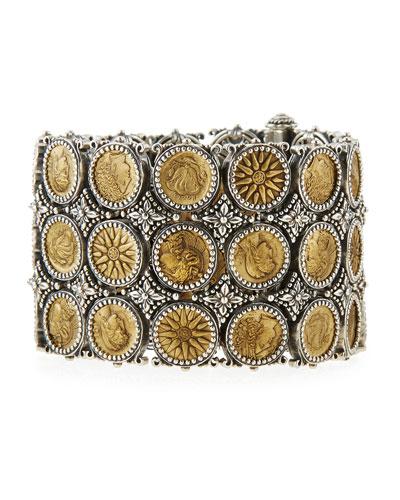 Silver & Bronze Wide Coin Bracelet