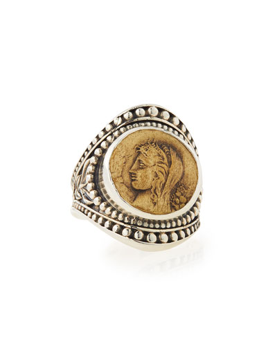 Silver & Bronze Coin Medallion Ring