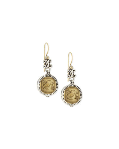 Silver and Bronze Coin Drop Earrings