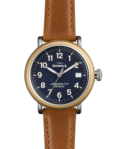 Runwell Coin Edge Watch with Sunflower Leather Strap, 38mm