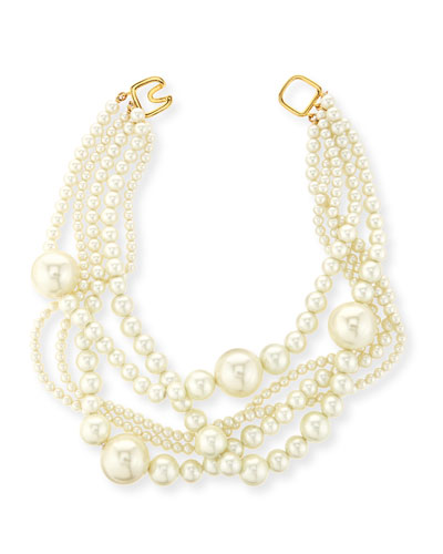 Multi-Strand Pearly Bead Necklace