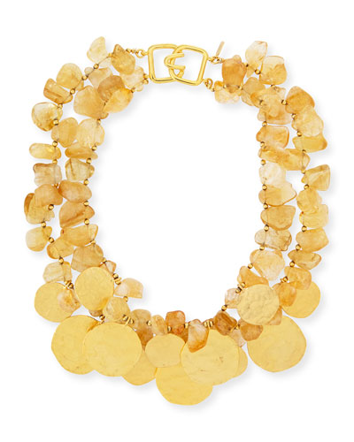 2-Row Citrine Glass & Golden Disc Necklace