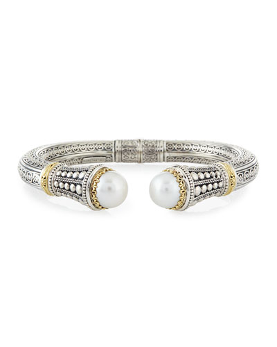 Classic 10Mm White Mabe Pearl, 18K Yellow Gold & Sterling Silver Cuff Bracelet in Silver/ Gold/ Pearl