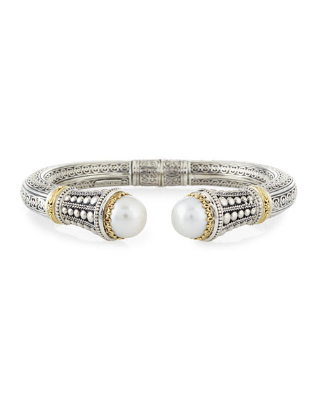 Konstantino Silver & 18k Gold Pearl-Tip Hinge Bracelet