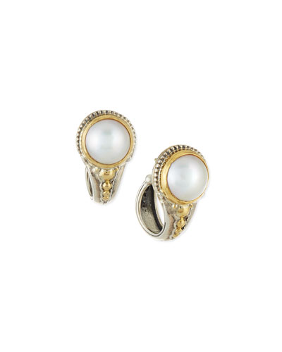 Silver & 18k Gold Mabe Pearl Hoop Earrings