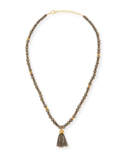 Shanti Pyrite Long Tassel Necklace