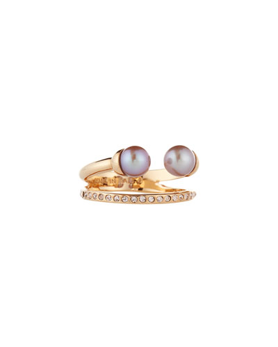 Ultra Mini Double Pearl Band Ring