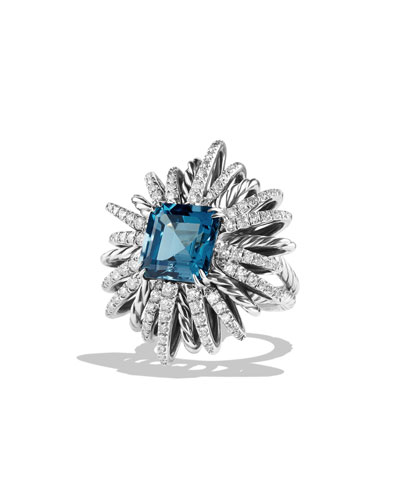 30mm Diamond & Blue Topaz Starburst Ring