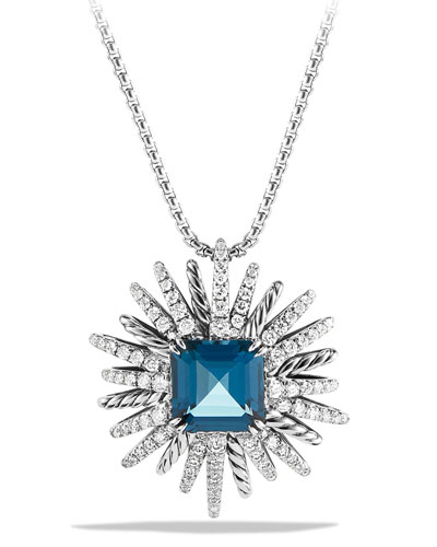 Blue Topaz & Diamond Starburst Necklace
