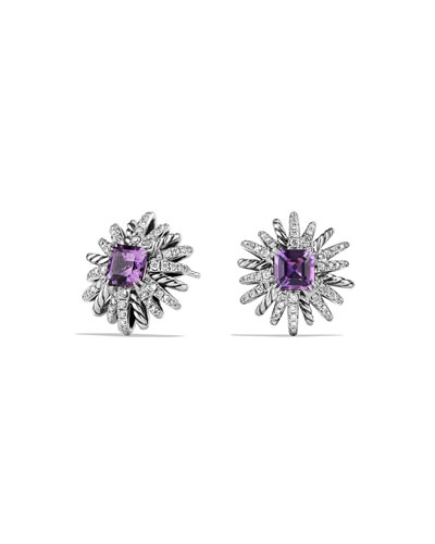 19mm Diamond & Amethyst Starburst Earrings