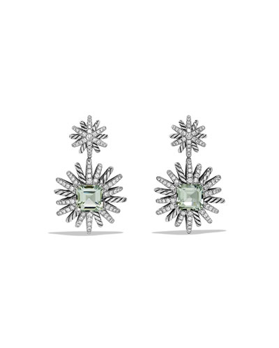 Starburst Prasiolite & Diamond Drop Earrings