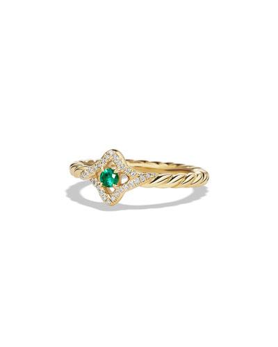 5mm Venetian Quatrefoil Emerald Ring, Size 6