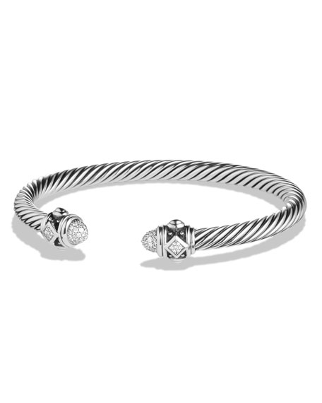 David Yurman 5mm Renaissance Sterling Silver Bracelet w/White Diamonds