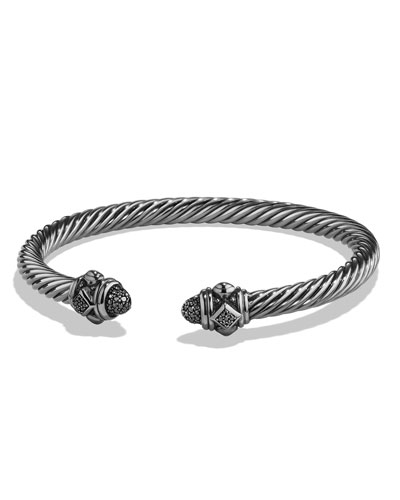 5mm Renaissance Sterling Silver Bracelet w/Black Diamonds
