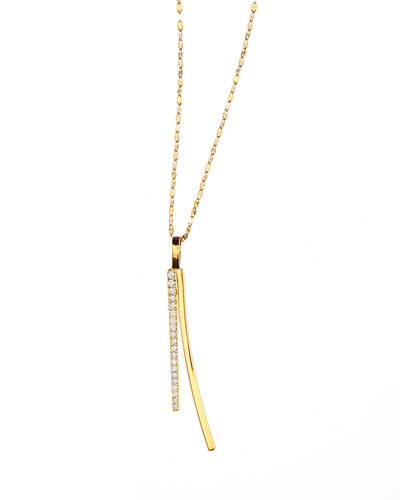 14k Electric Bar Diamond Reflector Necklace